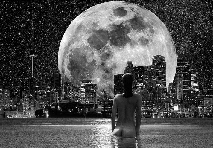 Moon light Swim Under the City Lights